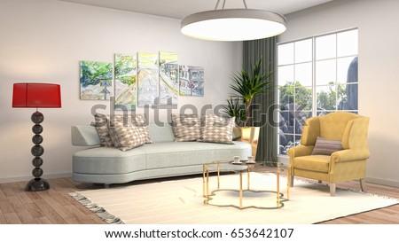 Interior living room. 3d illustration #653642107