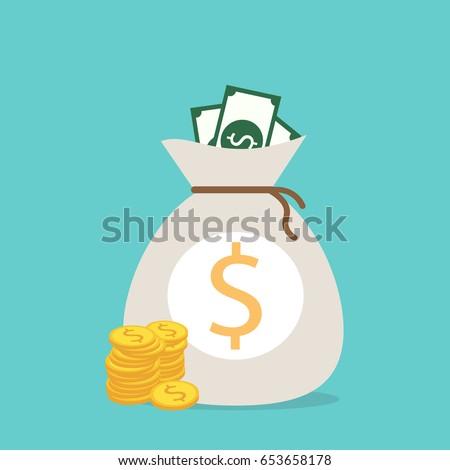 Money saving and money bag icon design, vector illustration #653658178