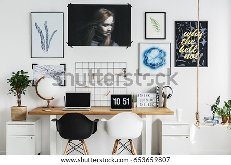 Wooden double desk with accessories in trendy home office #653659807