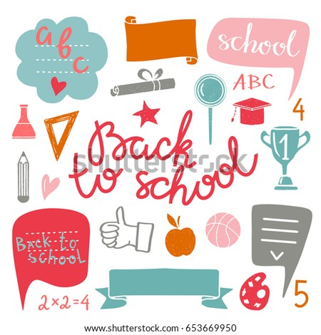 Back to school icons hand drawn set isolated on white background, handwritten text