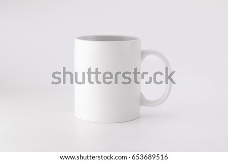 Ceramic mug on white background. Blank drink cup for your design. #653689516