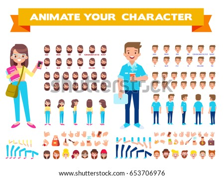 Front, side, back view animated characters. Male and female Students creation set with various views, hairstyles, face emotions, poses and gestures. Cartoon style, flat vector illustration. Royalty-Free Stock Photo #653706976