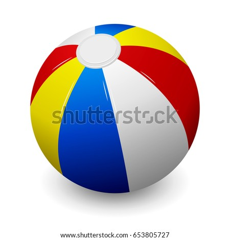 Colorful beach ball isolated on white background. #653805727