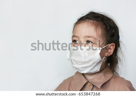 Asian girl in the medical mask. Corona virus or covid-19 viral disease outbreak effect to people lifestyle and healthcare concept  #653847268