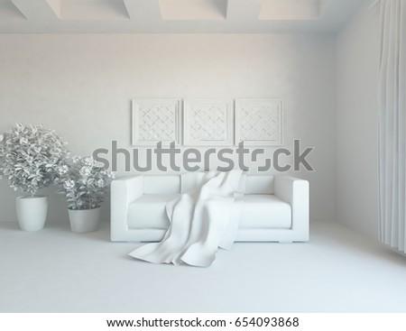 white modern room interior. 3d illustration #654093868