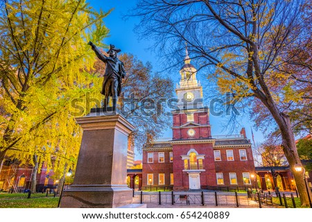 Independence Hall in Philadelphia, Pennsylvania, USA. Royalty-Free Stock Photo #654240889