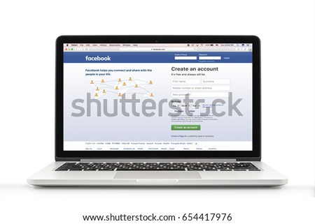 Bangkok, Thailand - May 16, 2017 : MacBook Pro with social networking service Facebook on the screen. MacBook Pro Retina 13-inch was created and developed by the Apple inc. #654417976