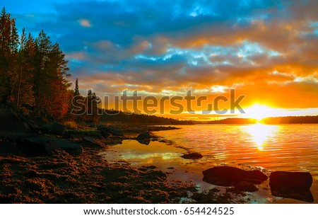 Sunset lake landscape #654424525