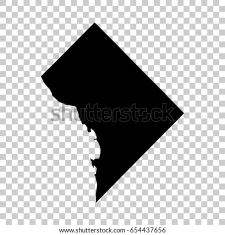 District of Columbia map isolated on transparent background. Black map for your design. Vector illustration, easy to edit. Royalty-Free Stock Photo #654437656