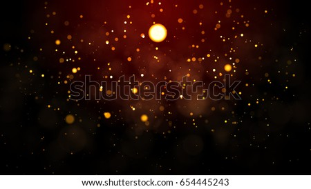 Gold abstract bokeh background. real backlit dust particles with real lens flare. #654445243