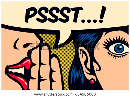 Pop Art style comic book panel gossip girl whispering in ear secrets with speech bubble, rumor, word-of-mouth concept vector illustration