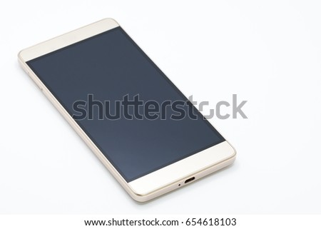 Smartphone gold color on white background  #654618103