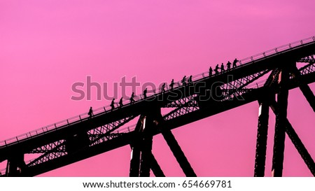 Climbing up the Sydney Harbour Bridge Royalty-Free Stock Photo #654669781
