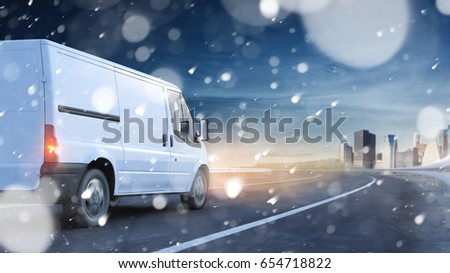 Delivery van driving in snow on a road to a city (3D Rendering) #654718822