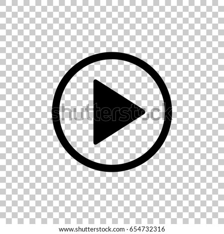 Play button icon isolated on transparent background. Black symbol for your design. Vector illustration, easy to edit. #654732316