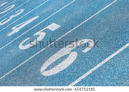 blue running track with numbers #654752185