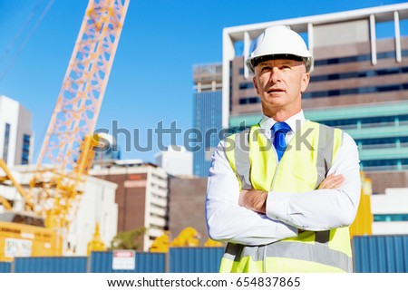 Engineer builder at construction site #654837865