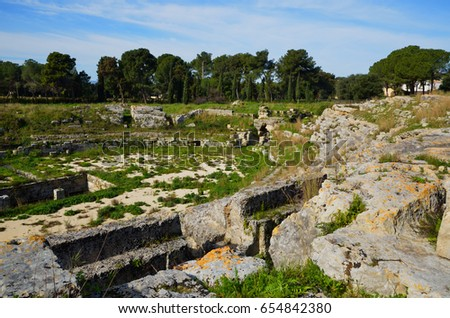 Archaeological Park of Neapolis in Syracuse, Sicily, ruins of the Roman amphitheater #654842380