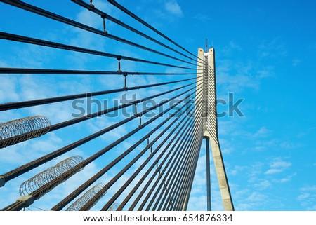 fragment of bridge in Riga city #654876334