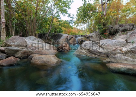 beautiful Waterfall , Deep forest waterfall #654956047