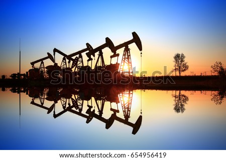 The oil pump, industrial equipment Royalty-Free Stock Photo #654956419