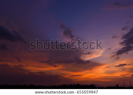 Beautiful dramatic natural sunset twilight sky at dusk,abstract evening view background. #655059847