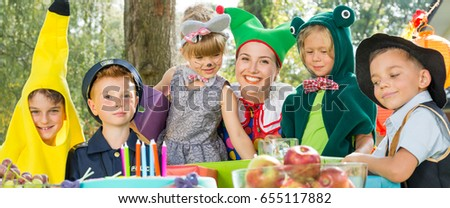Costume party for kids in the garden #655117882