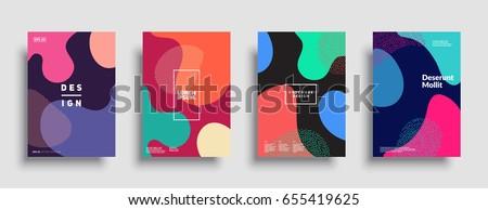 Fluid color covers set. Colorful bubble shapes composition. Trendy minimal design. Eps10 vector.
