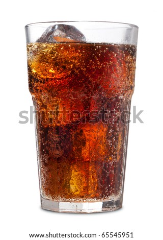 Glass of cola with ice #65545951