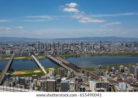 Bridges over the river, Osaka Japan #655490041