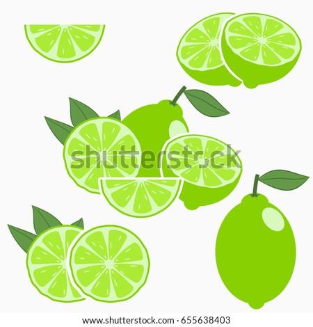 Lime. Citrus fruit with leaf - whole, half, slice. Vector illustration. #655638403