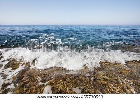 Foam wave, Ayia napa, Cyprus. Mediterranean sea landscape #655730593