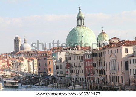 San Simeon Piccolo  in the Grand Canal Venice on January 27, 2015 #655762177