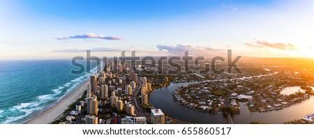 Panorama of Southern Gold Coast looking towards Broadbeach at dusk #655860517