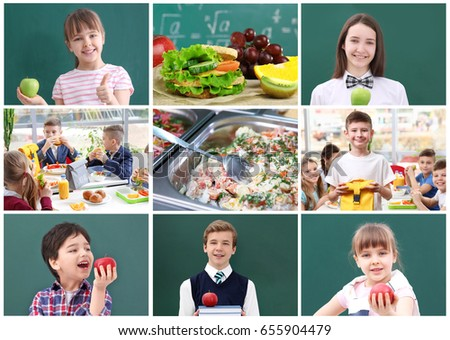 Collage for school lunch concept #655904479