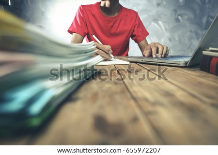 Man hands using tablet, laptop and holding credit card on line shop and Book air ticket #655972207