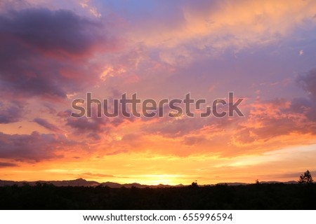 Yellow gold sky evening In tropical countries summer #655996594