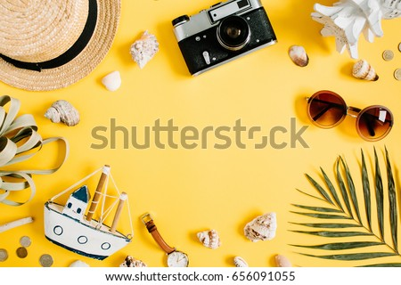 Flat lay traveler accessories on yellow background with blank space for text. Top view travel or vacation concept. Summer background. #656091055