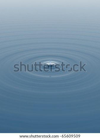 A single raindrop breaks the smooth surface of a pond, radiating circular ripples. #65609509