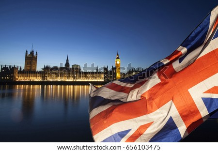 General Elections, London, UK - Union jack flag and Big Ben in the background, London, UK  Royalty-Free Stock Photo #656103475