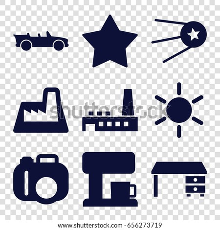 Contemporary icons set. set of 9 contemporary filled icons such as sun, office desk, star, cabriolet, factory, coffee machine #656273719