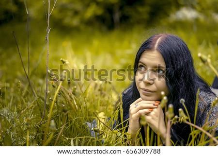 Beautiful girl in nature #656309788