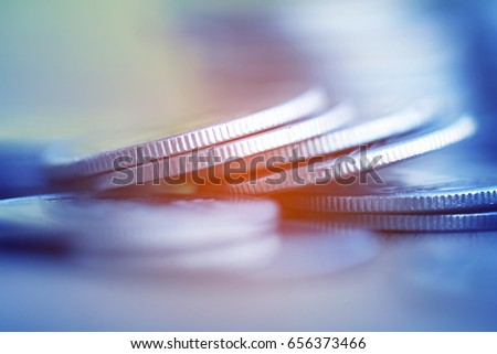 Coins on wood background for finance and Saving concept,Investment, Economy, Soft focus and dark style. #656373466