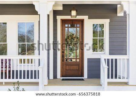 Front door of an arts & crafts house Royalty-Free Stock Photo #656375818