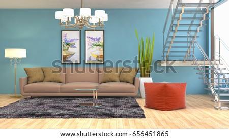 Interior living room. 3d illustration #656451865