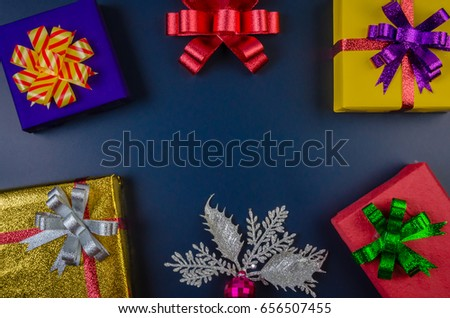 gift box on background blue in black. #656507455