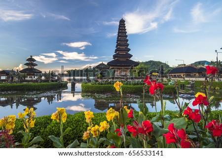 Pura Ulun Danu Bratan, Hindu temple on Bratan lake landscape, one of famous tourist attraction in Bali, Indonesia #656533141