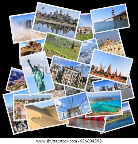 World landmarks collage - photo stack of United States, France, England, Spain, Brazil, New Zealand, Japan, Thailand and Cambodia.