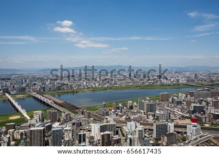 Bridges over the river, Osaka Japan #656617435