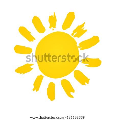Hand drawn cute shinny sun. Vector graphic illustration